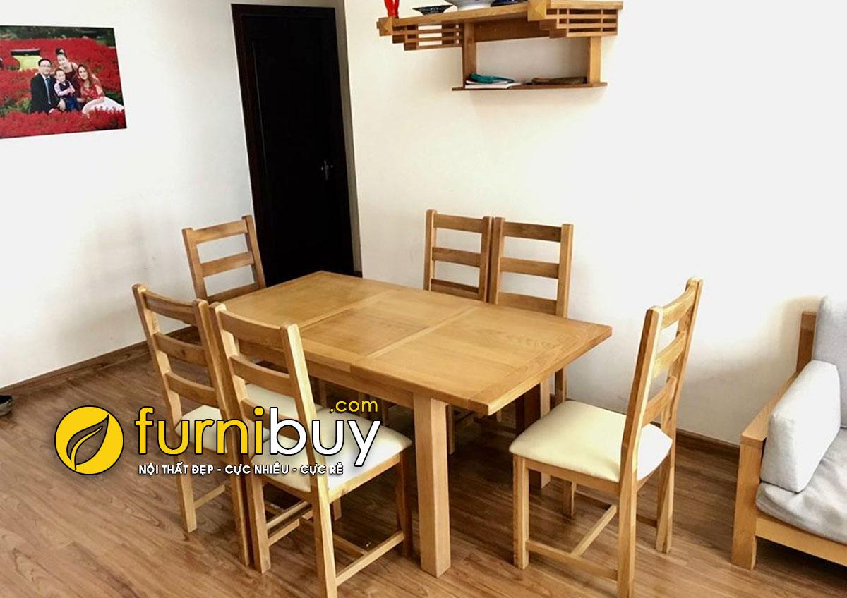 Hình ảnh bộ bàn ăn 6 ghế gấp gọn thông minh