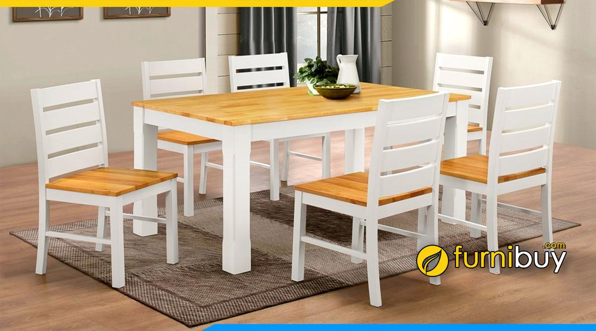 Hình ảnh Bộ bàn ăn 6 ghế gỗ cao su đẹp giá rẻ