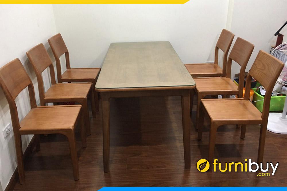 hình ảnh Bộ bàn ăn 6 ghế gỗ đẹp 1m6 Furnibuy giao khách ở chung cư Đồng Phát