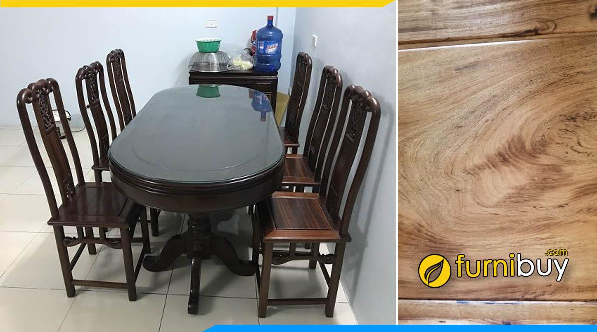 Ảnh Bộ bàn ăn 6 ghế gỗ gụ màu óc chó cao cấp