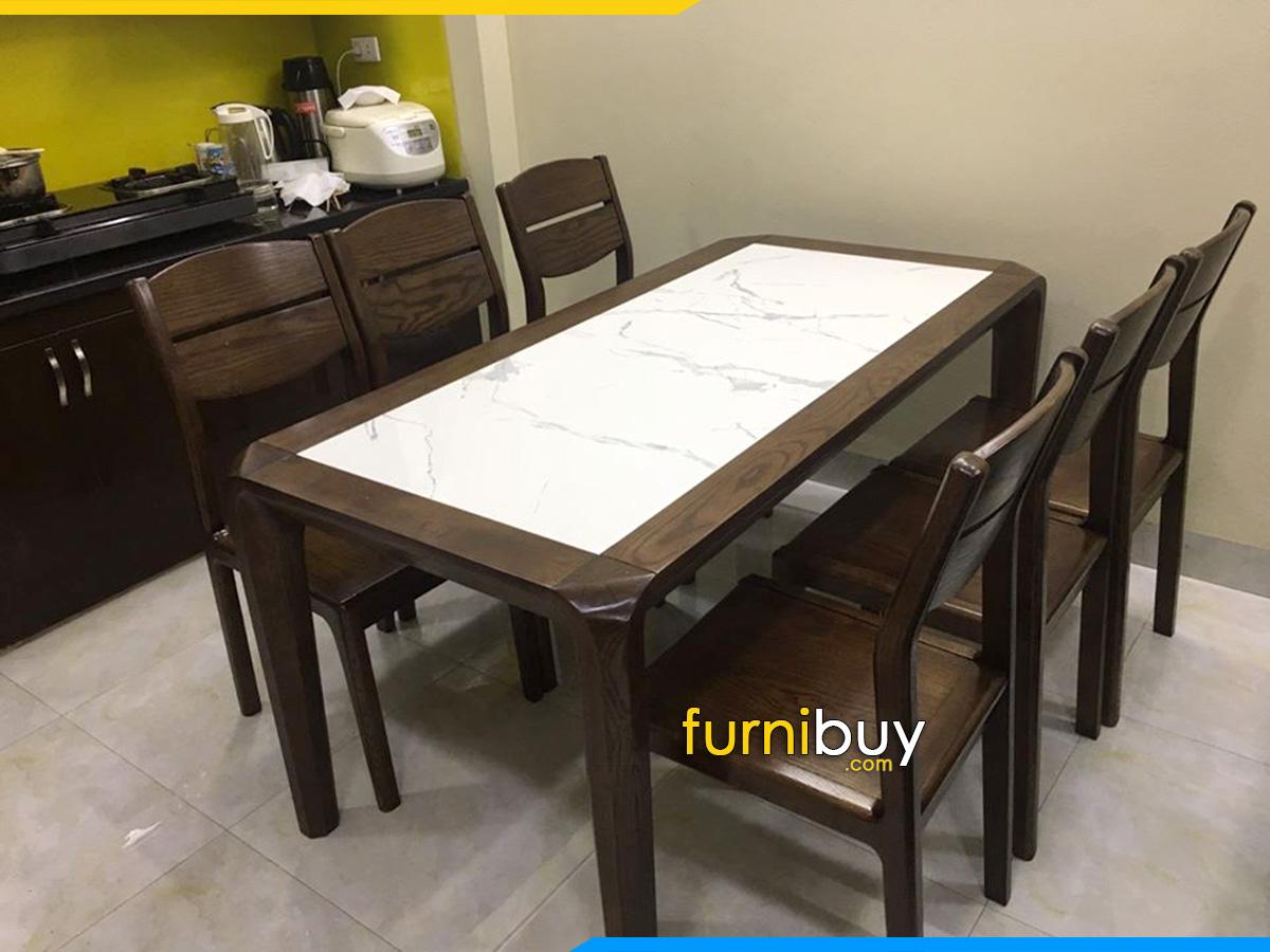 Hình ảnh bộ bàn ăn 6 ghế gỗ óc chó mặt đá đẹp