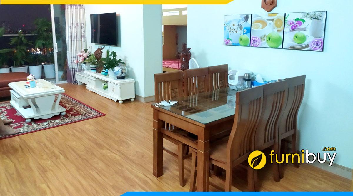 ảnh bộ bàn ăn 6 ghế gỗ sồi 2 tầng cho nhà chung cư