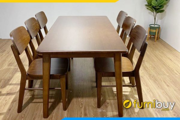 hình ảnh Bộ bàn ăn 6 ghế gỗ sồi màu óc chó chân tròn không tiện BA037A giao cho chị Mai ở Hà Đông