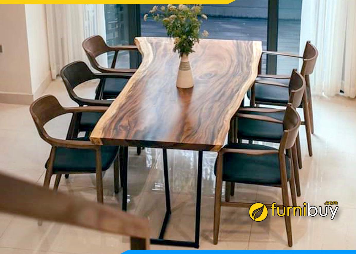 Hình ảnh Bộ bàn ăn 6 ghế gỗ tự nhiên nguyên khối