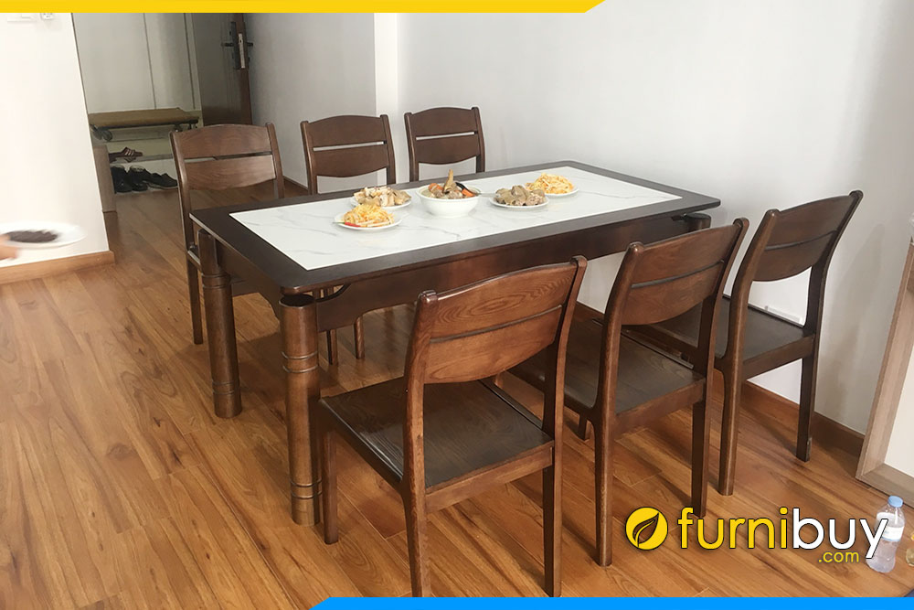 Hình ảnh Bộ bàn ăn 6 ghế mặt đá vân mây đẹp ở chung cư Goldseason