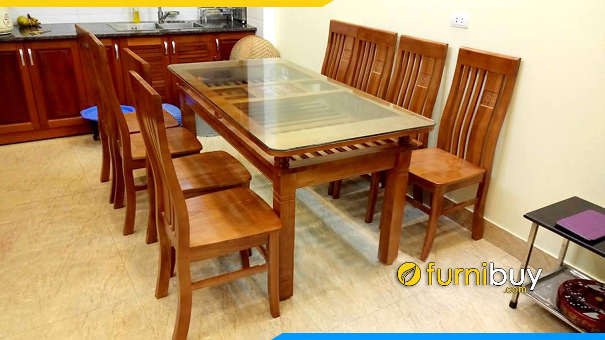 Hình ảnh Bộ bàn ăn 6 ghế mặt kính được ưa chuộng