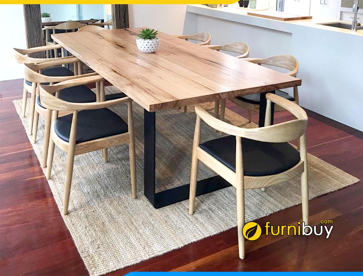 Hình ảnh Bộ bàn ăn 8 ghế gỗ công nghiệp giá rẻ chân sắt tĩnh điện