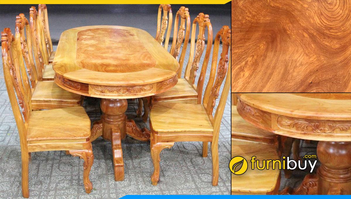 Hình ảnh Bộ bàn ăn 8 ghế gỗ gõ đỏ tự nhiên sở hữu màu vân đẹp