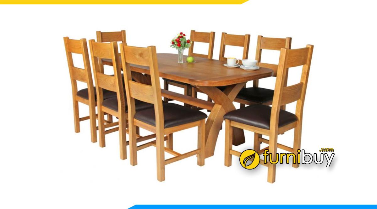 Hình ảnh Bộ bàn ăn 8 ghế gỗ sồi đẹp giá rẻ cho gia đình