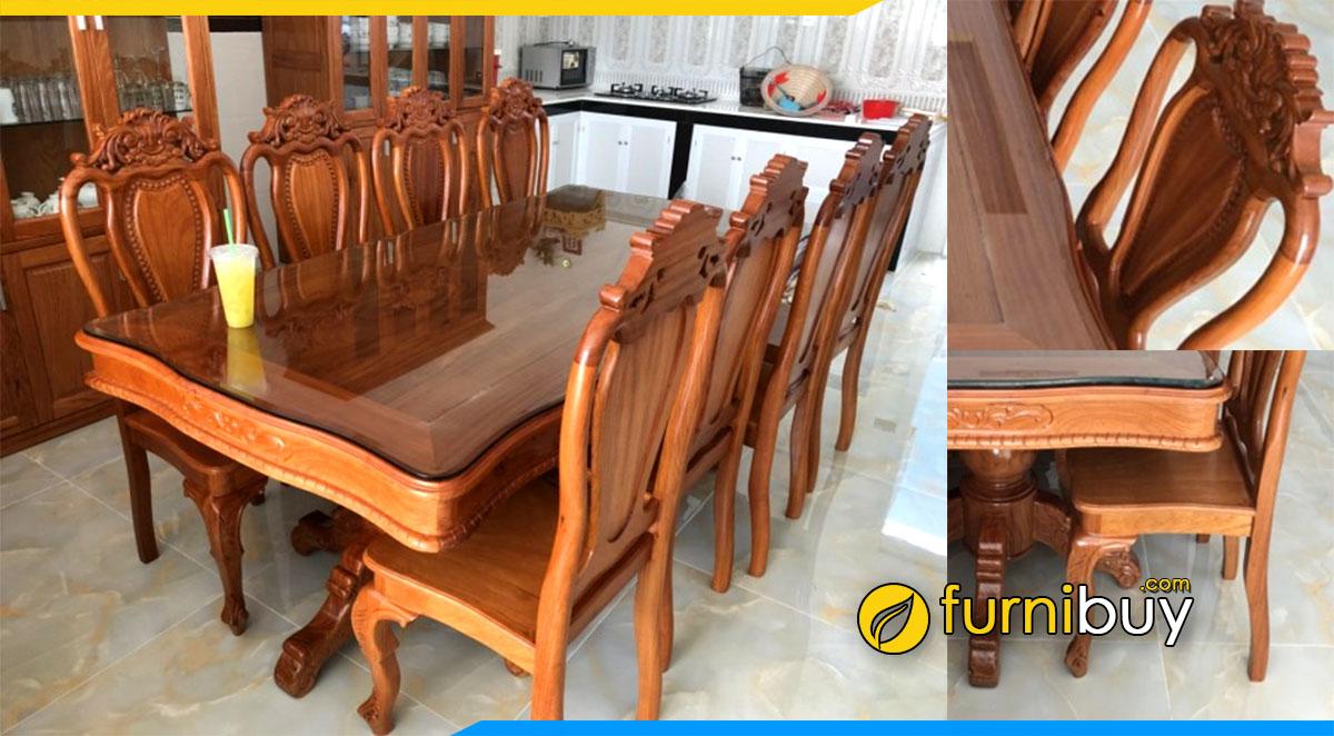 Hình ảnh Bộ bàn ăn 8 ghế gỗ tự nhiên được ưa chuộng hiện nay