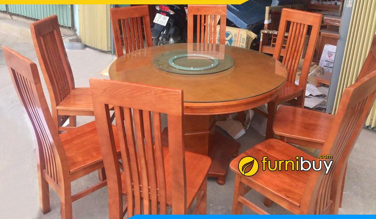 Hình ảnh Bộ bàn ăn 8 ghế gỗ xoan đào tròn xoay giá rẻ
