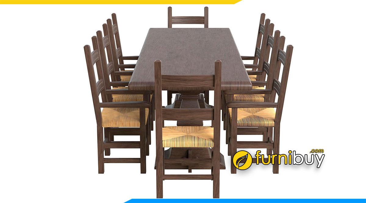 Hình ảnh Bộ bàn ăn 8 ghế hình chữ nhật cao cấp