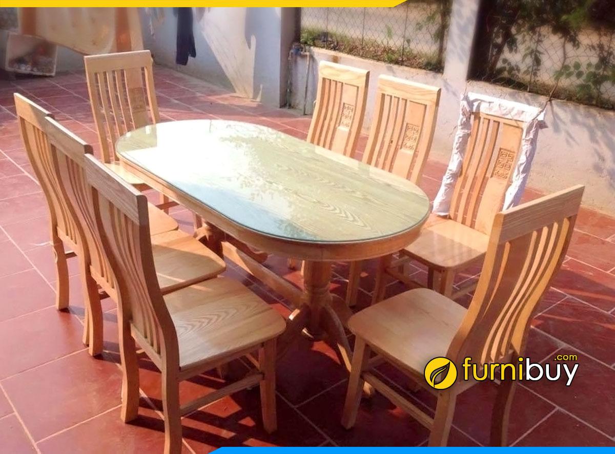 Hình ảnh Bộ bàn ăn 8 ghế mặt kính hình bầu dục