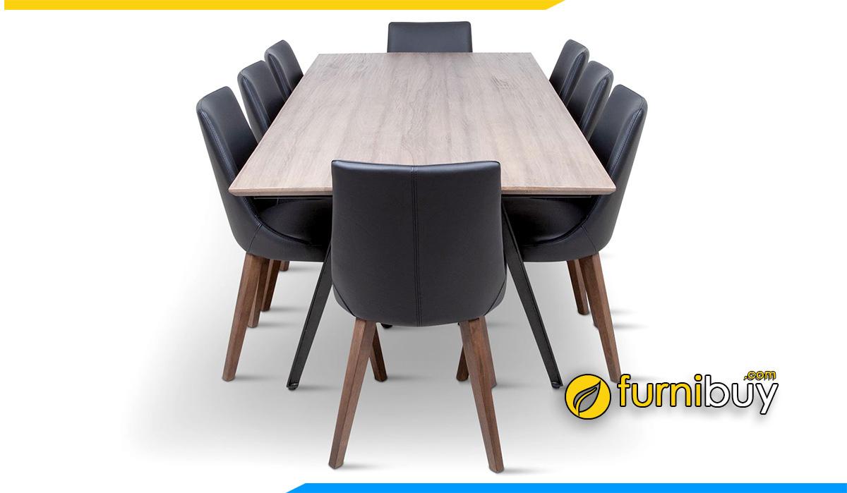 Hình ảnh Bộ bàn ăn 8 ghế nệm da sang trọng