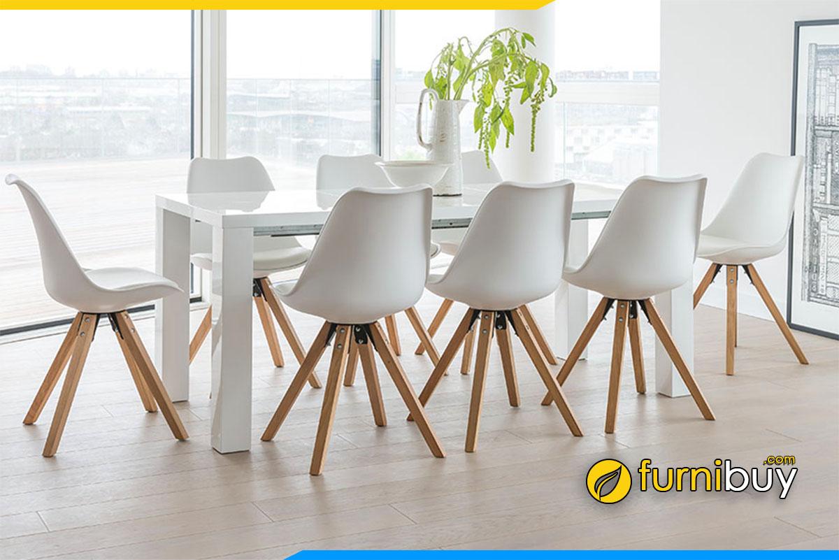 Hình ảnh Bộ bàn ăn 8 ghế nhựa hiện đại đẹp