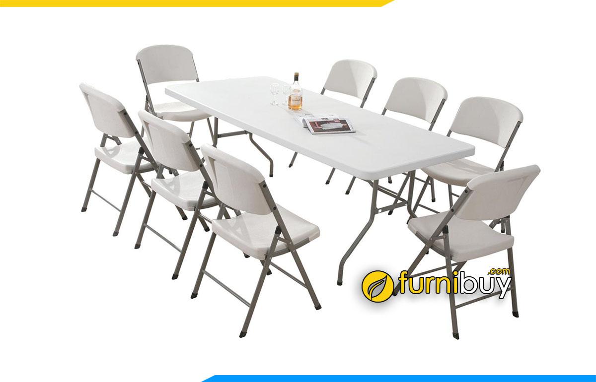 Hình ảnh Bộ bàn ăn 8 ghế xếp gọn màu trắng hiện đại