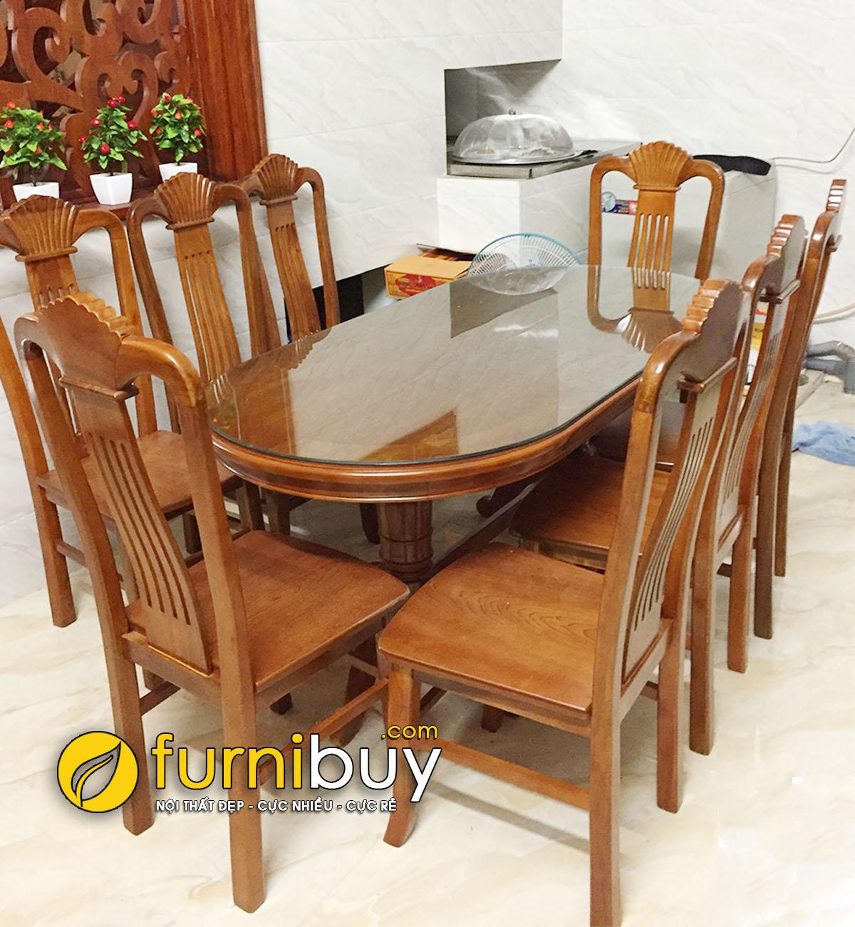 Bộ bàn ăn gia đình 8 ghế gỗ Xoan Đào giá rẻ
