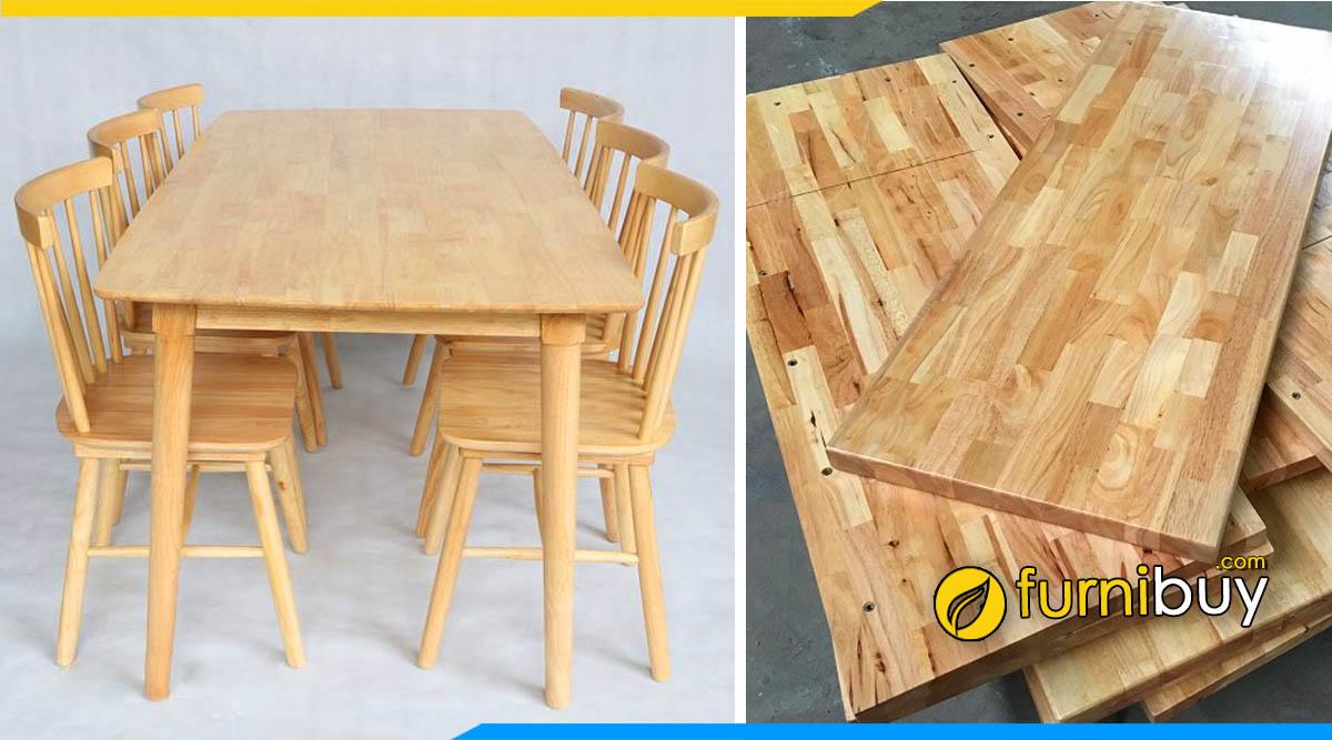 Hình ảnh bộ bàn ăn gỗ cao su ghép thanh giá rẻ