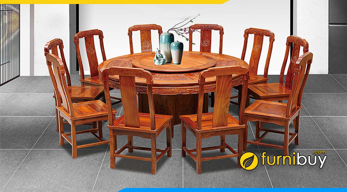 Hình ảnh Bộ bàn ăn gỗ gõ đỏ 10 ghế hình tròn
