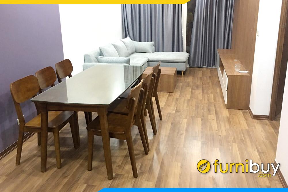 hình ảnh Bộ bàn ăn gỗ mặt kính 6 ghế Mango đẹp tại chung cư HH2 Linh Đàm