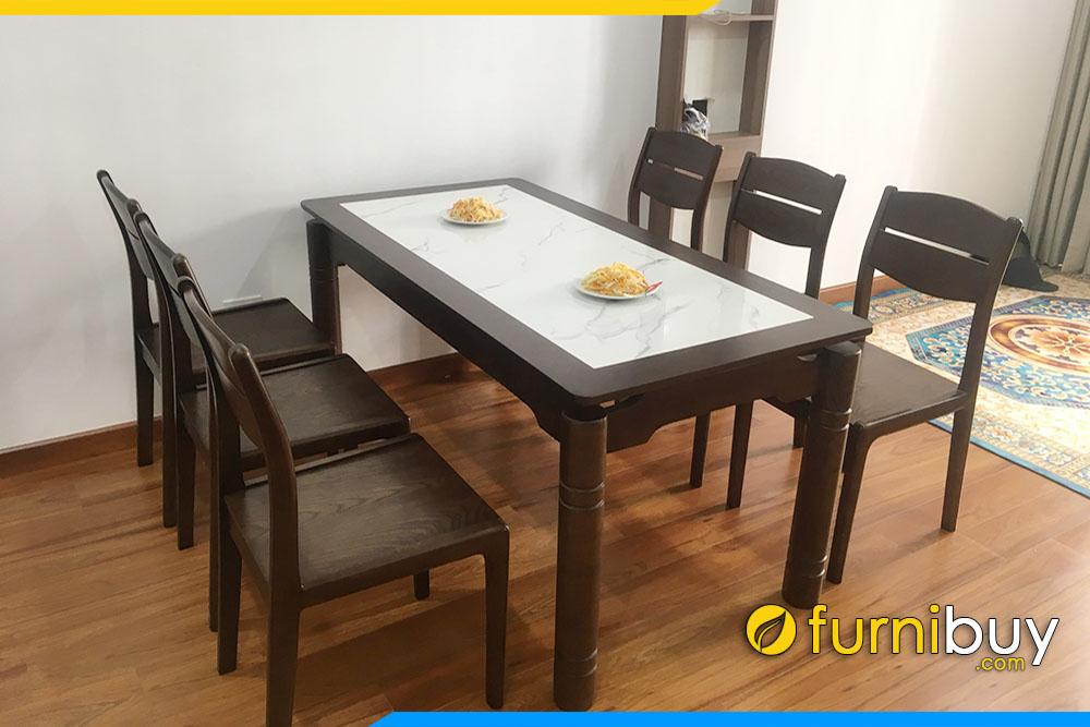Hình ảnh Bộ bàn ăn mặt đá 6 ghế cao cấp BA047