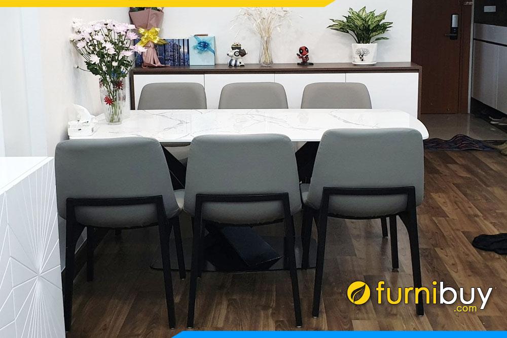 hình ảnh Bộ bàn ăn mặt đá và 6 ghế lười nệm nỉ đẹp nhà chị Tuyết