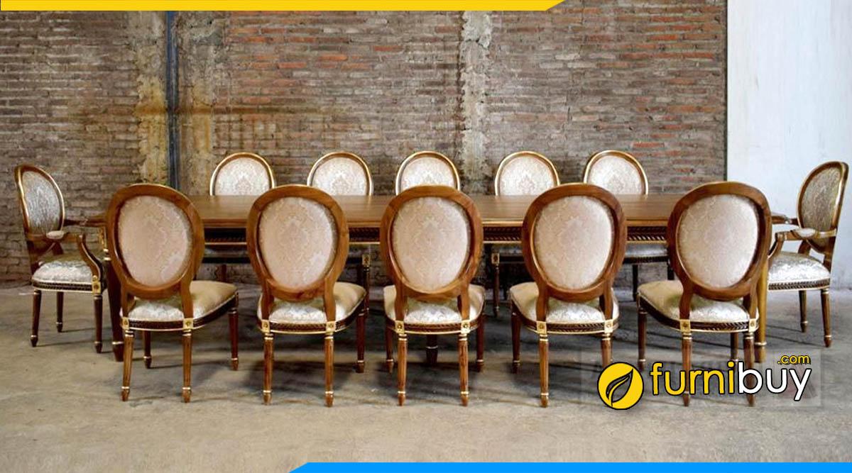 Ảnh Bộ bàn ăn tân cổ điển 12 ghế sang trọng