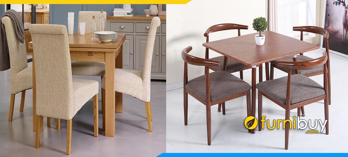 Hình ảnh bộ bàn ăn vuông 4 ghế nhỏ đẹp