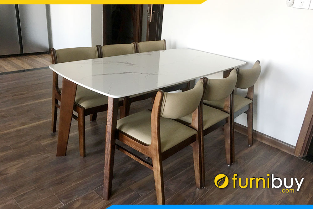 Bộ bàn ghế ăn đẹp 6 chỗ ngồi tại nhà khách ở Ocen Park - Đa Tốn - Gia Lâm
