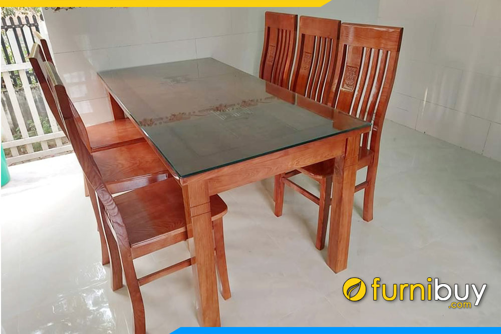 hình ảnh Bộ bàn ghế ăn gỗ sồi 6 ghế mặt liền có kính đẹp giá rẻ nhà anh Cường