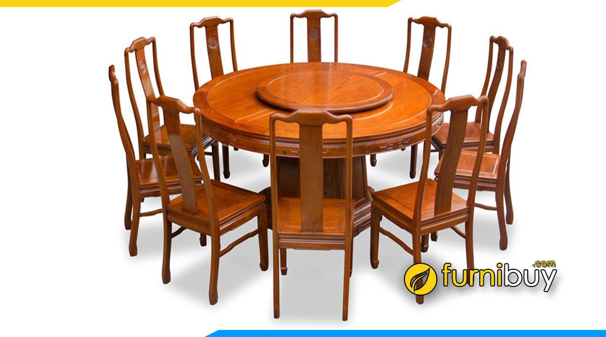 Hinh ảnh Bộ bàn ăn tròn 10 ghế gỗ mâm xoay