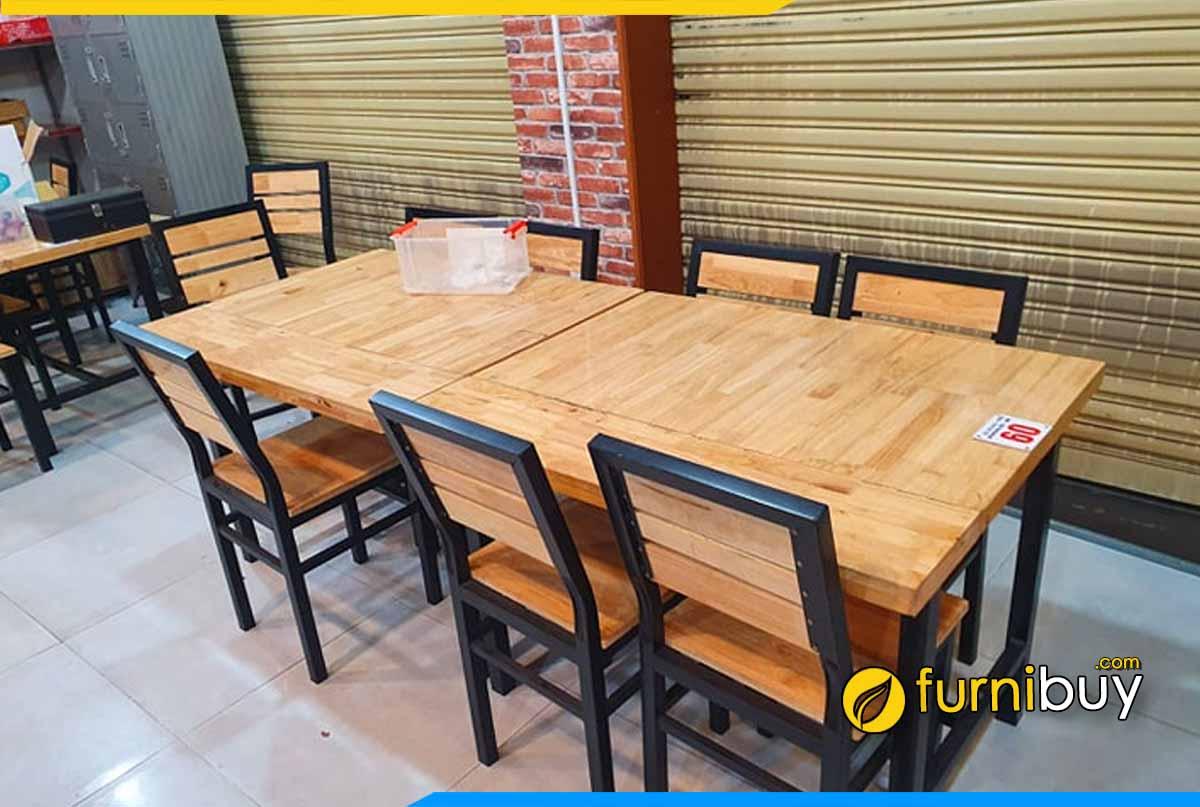 Bộ bàn ghế quán ăn giá rẻ gỗ cao su chân sắt