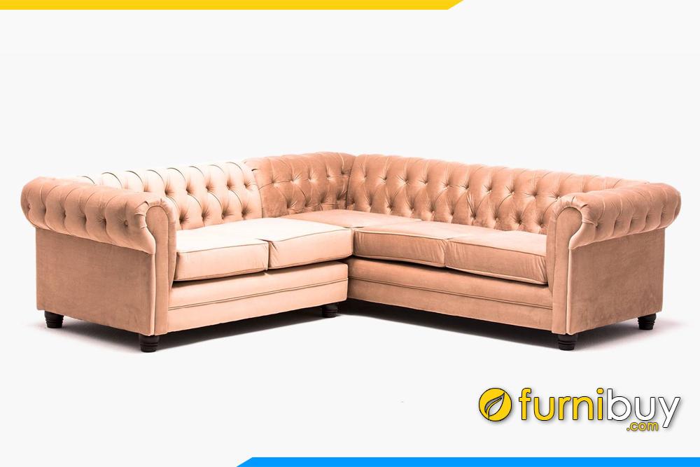 Bộ ghế sofa nỉ phòng khách với kiểu dáng góc L hiện đại FB20162