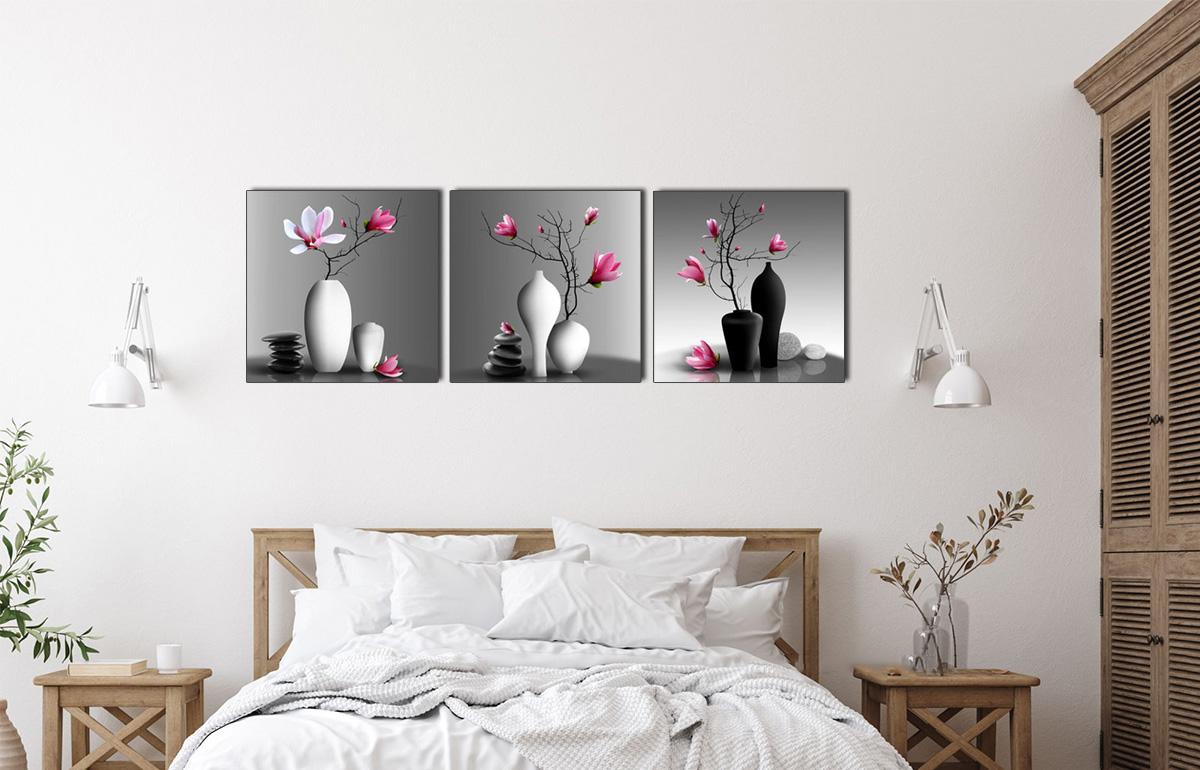 Hình ảnh Bộ tranh bình hoa treo phòng ngủ được yêu thích mã 1381