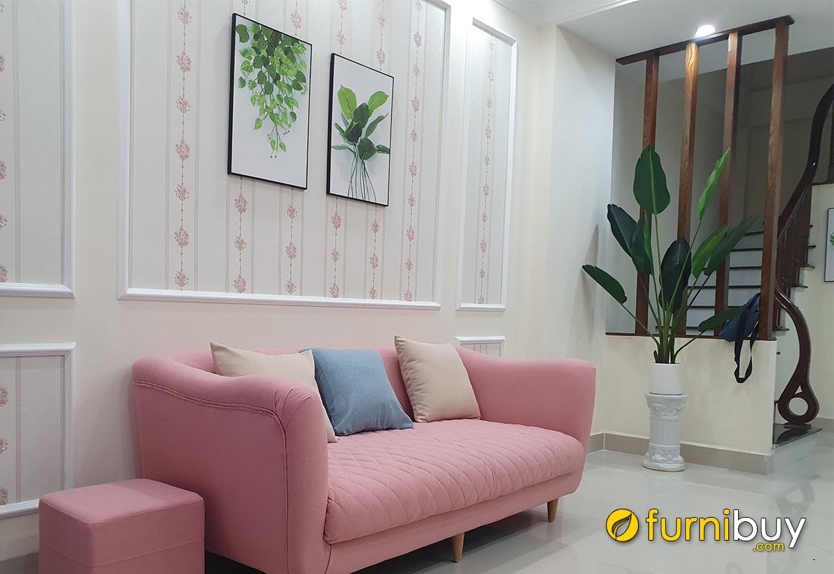 Hình ảnh Bộ tranh lá trang trí phòng khách nhỏ xinh