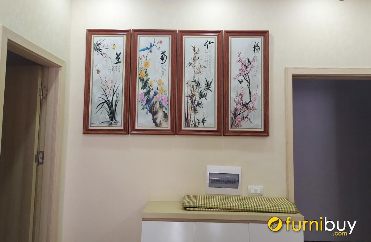 Hình ảnh Bộ tranh tứ quý treo phòng khách đẹp nhà phố