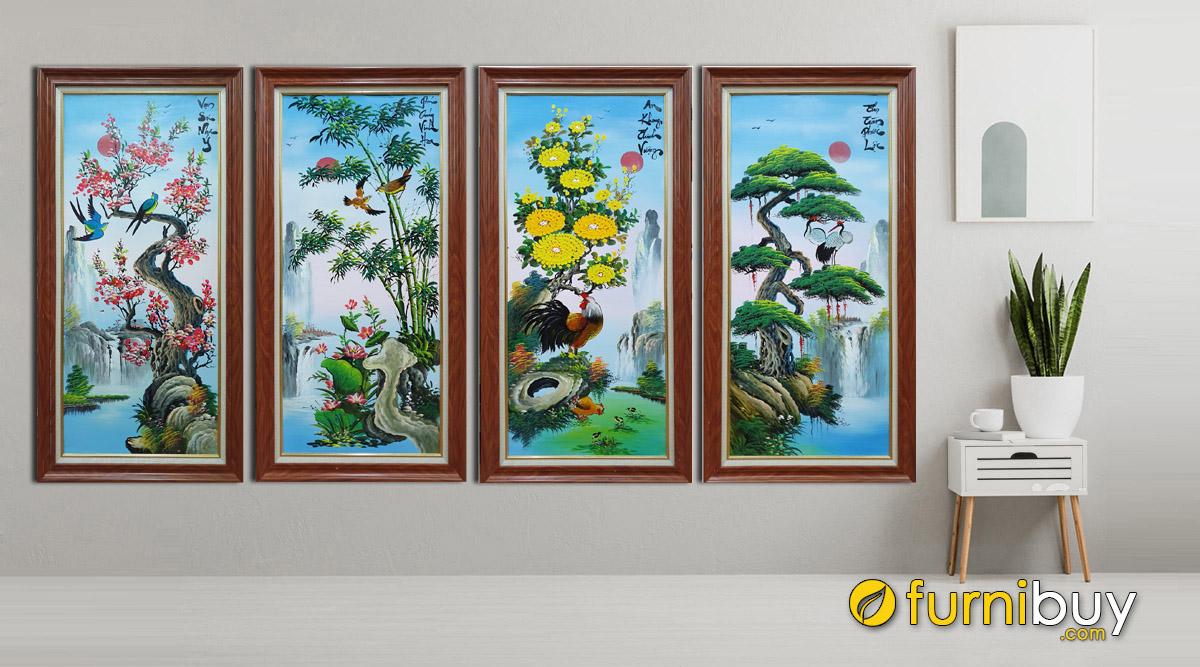 Hình ảnh Bộ tranh tứ quý treo phòng khách nhà chung cư đẹp