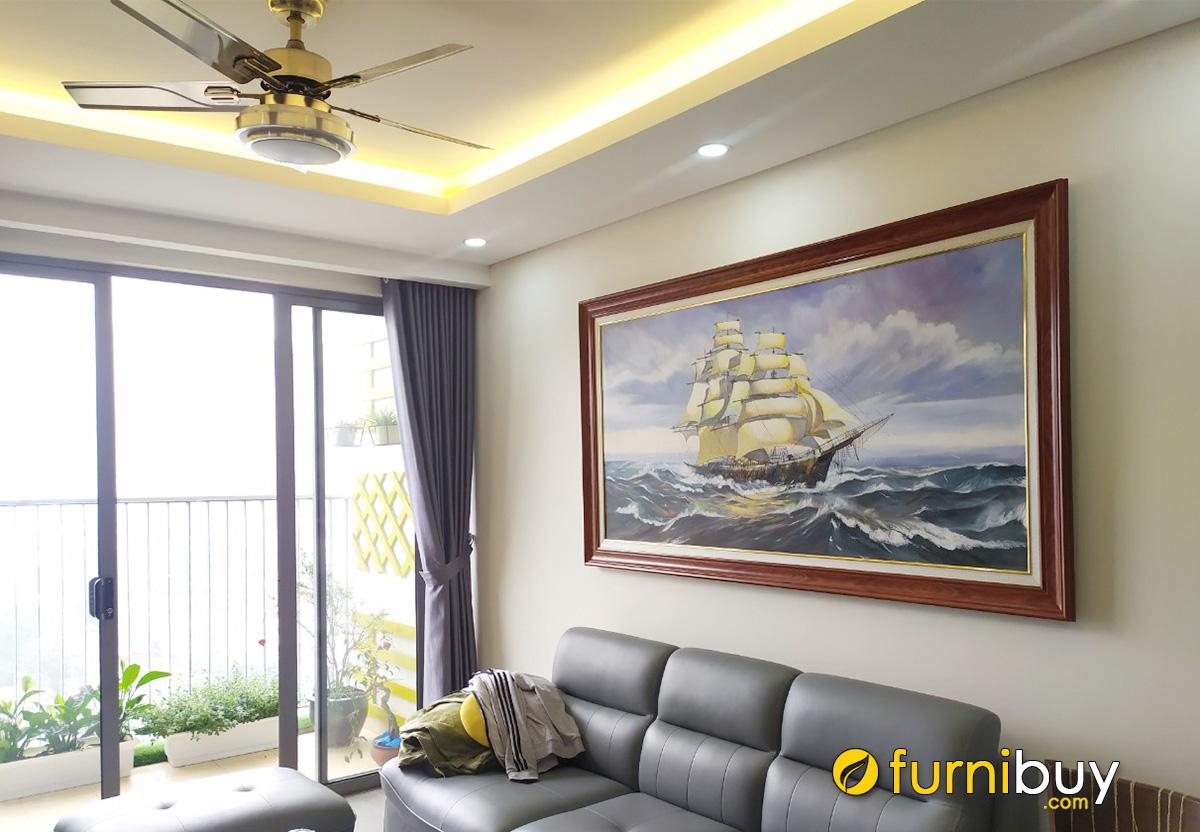 Hình ảnh Bức tranh thuyền buồm treo tường phòng khách chung cư