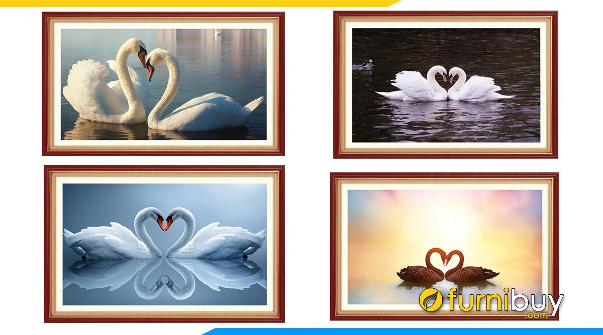 Hình ảnh Các mẫu tranh đôi thiên nga treo tường phòng ngủ vợ chồng