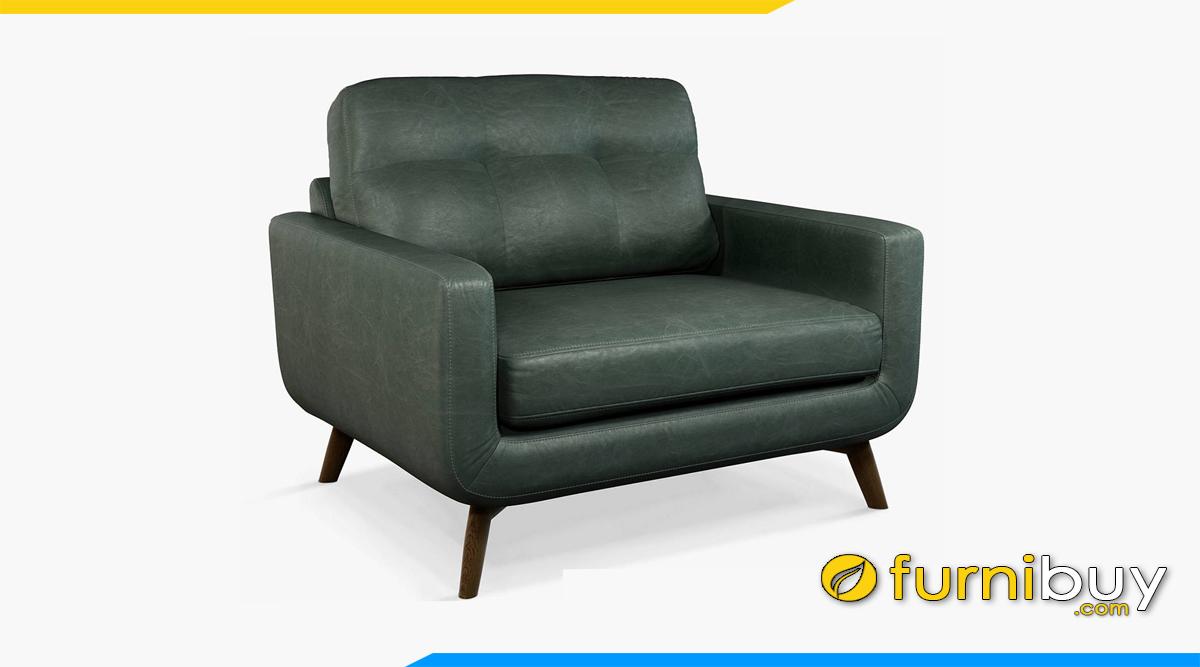 chiec ghe sofa don boc da xanh ke phong khach