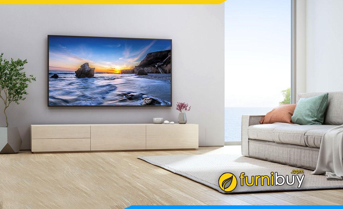 Lựa chọn kệ tivi phòng khách đồng màu sàn nhà