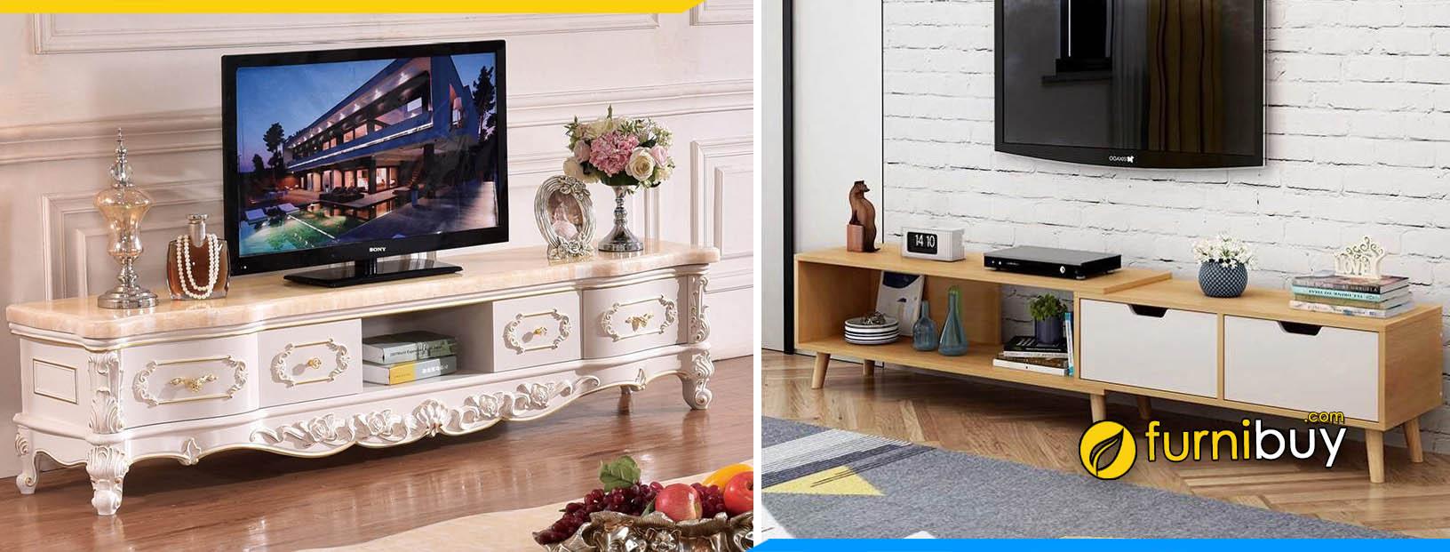 Tư vấn cách chọn kệ tivi phòng khách tân cổ điển hay hiện đại