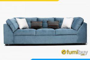 Bộ sofa với nỉ màu xanh giúp phòng khách trở lên hài hóa nhã nhặn hơn