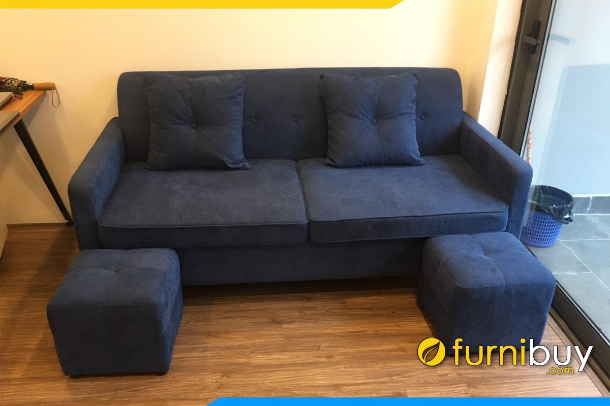 ghe sofa vang mini ke phong khach chung cu boc ni mau xanh
