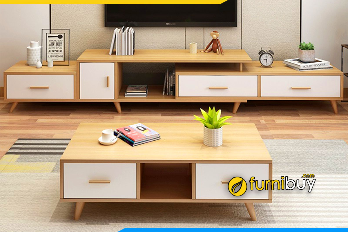 Hình ảnh kệ tivi kết hợp bàn trà gỗ đẹp hiện đại phòng khách