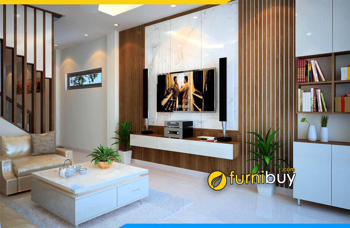 Hình ảnh Kệ gỗ tivi 2m treo tường phòng khách đẹp