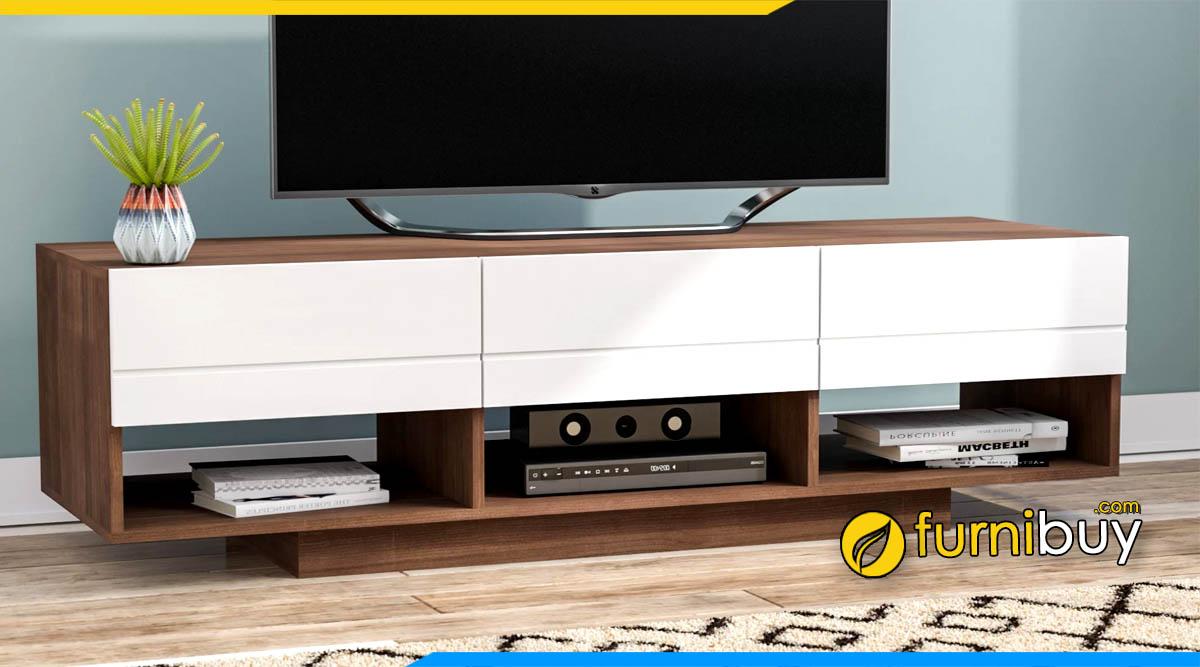 Hình ảnh Mẫu kệ tivi gỗ đẹp MDF phủ sơn Melamine trắng giá rẻ