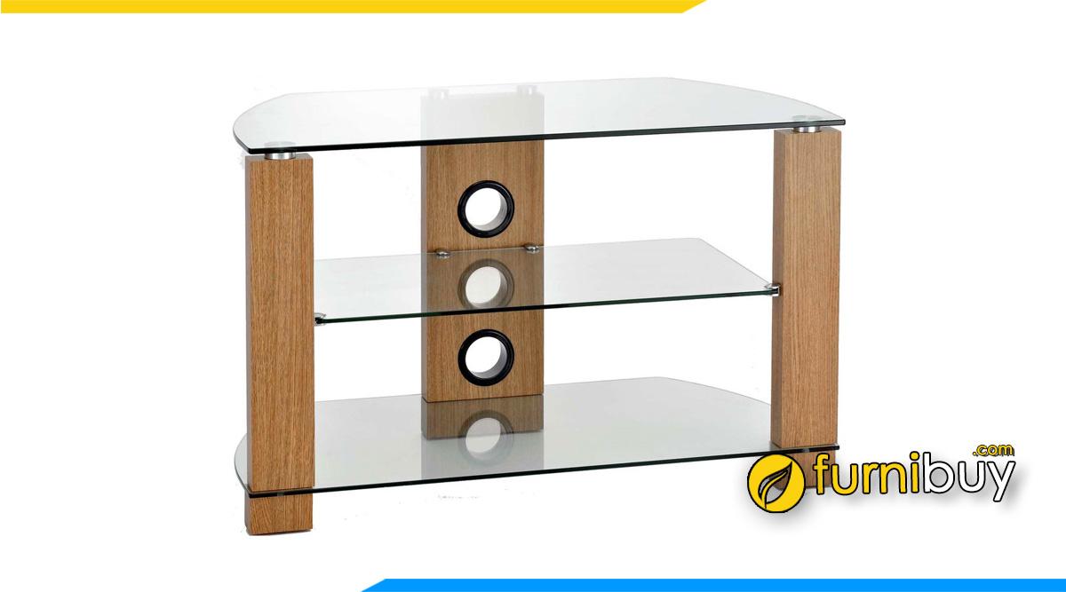 Hình ảnh Chiếc kệ tivi gỗ kính đơn giản cho phòng khách nhỏ gọn