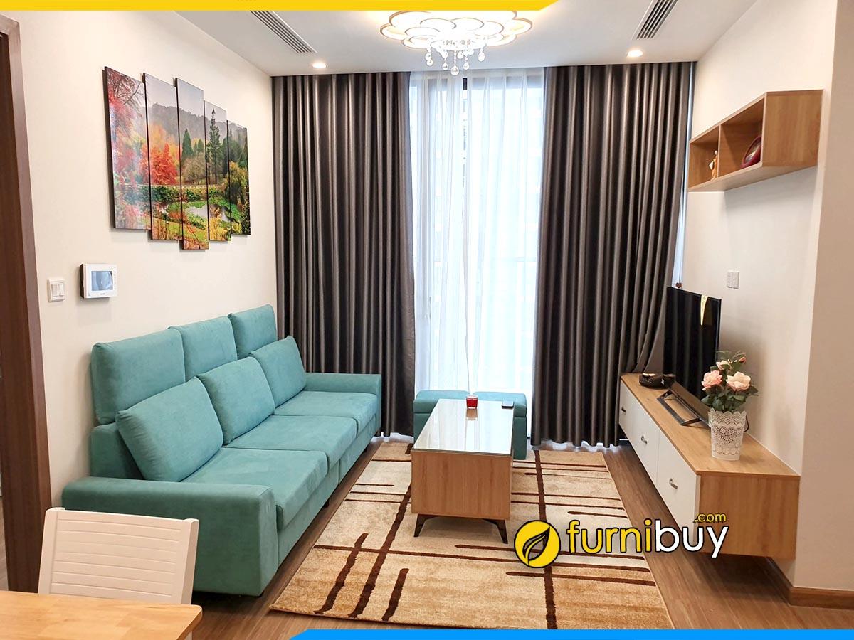 Hình ảnh Kệ tivi kết hợp bàn trà sofa chung cư đồng bộ