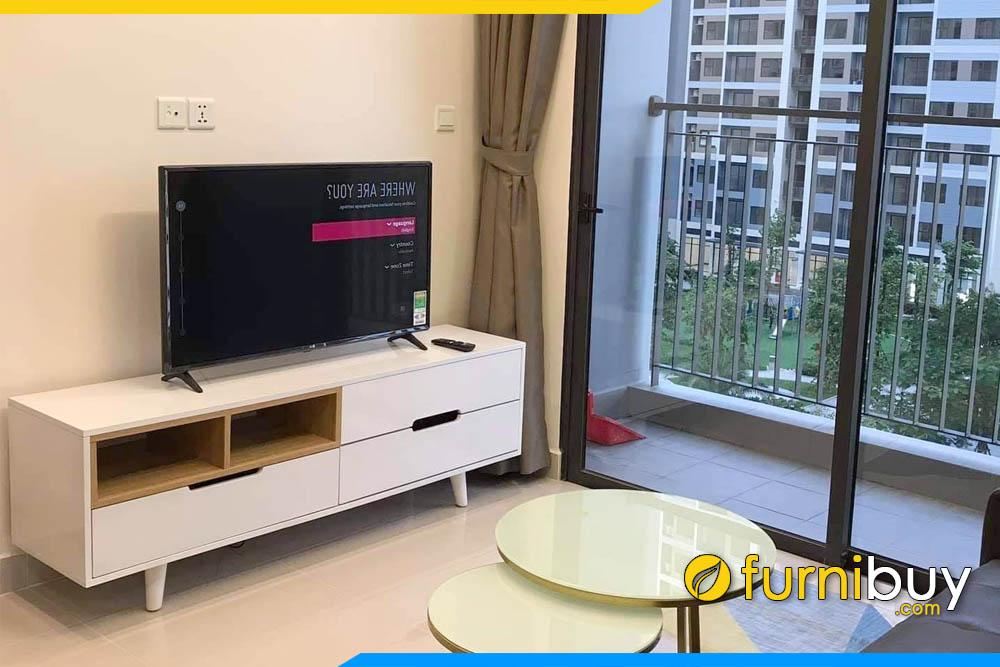 Hình ảnh kệ tivi phòng khách chung cư đẹp màu trắng FBK009